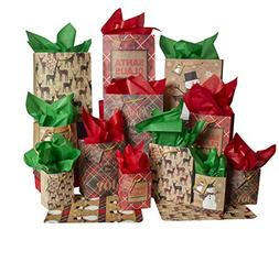 Besti Christmas Gift Bags w/Holiday Tissue Paper and Flat Wr