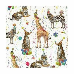 Caspari - Christmas Gift Holiday Wrapping Paper, Party Anima