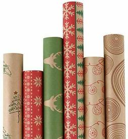 RUSPEPA Christmas Gift Wrapping Paper - Brown Kraft Paper wi