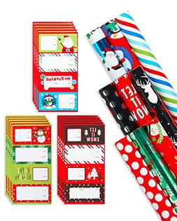 American Greetings Christmas Gift Wrapping Paper Set with Bo