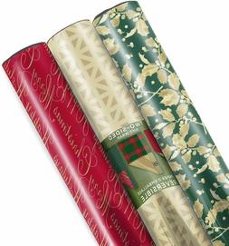 Hallmark Christmas Reversible Wrapping Paper Foil Traditiona