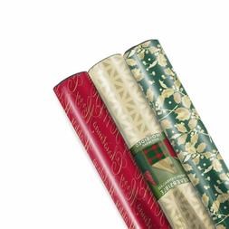 Hallmark Christmas Reversible Wrapping Paper, Traditional Fo