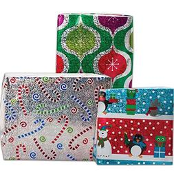 JAM Paper Christmas Design Wrapping Paper Roll Bundle - 25 s