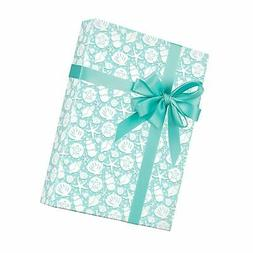 "Coastal Seashells Gift Wrapping Paper Roll - 24"" x 15' Roll"