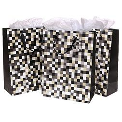 Set of 3 Cool Pixels Style Party/Birthday Gift Bags and Tiss
