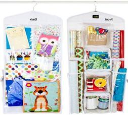 Dual Sided Vertical Gift Wrap Organizer, Wrapping Paper Orga