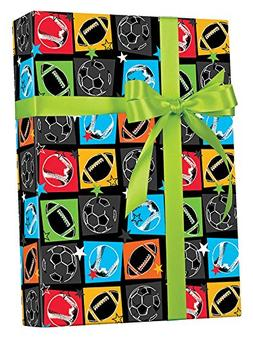 "Sports Enthusiast Gift Wrapping Paper Flat Sheet - 24"" x 6'"
