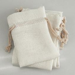 FIREFLY Faux Burlap Pouches w/ Drawstrings, White, 6-pack
