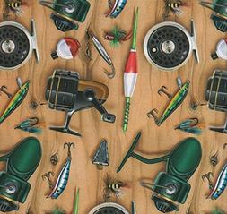 Fishing Tackle Gift Wrapping Paper -Two 26 In x 6 Ft Sheets