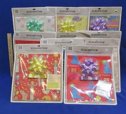 Flat Wrapping Paper Sets w/ Matching Bow & Tags Birthday Bab