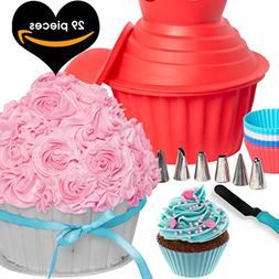 29pcs Giant Cupcake Pan Silicone Molds - Extra Huge Oversize