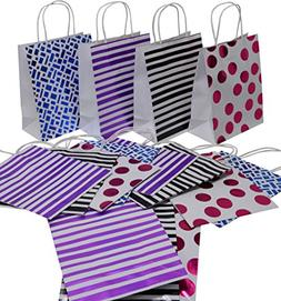 Medium Christmas Gift Bags - White with Blue, Black, Pink an