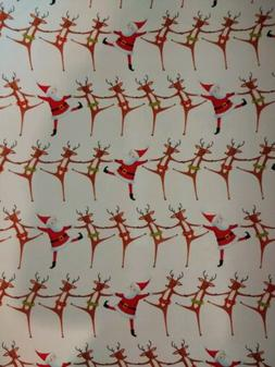 Caspari Gift Wrap Continuous Roll Christmas Can Can Ivory Gl