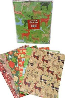 Gift wrap flat wrapping paper, Christmas designs, assorted h