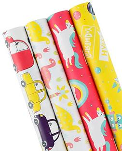 WRAPAHOLIC Gift Wrapping Paper Roll - Dinosaurs/Robot/Unicor