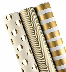 WRAPAHOLIC Gift Wrapping Paper Roll - Gold Print for Birthda