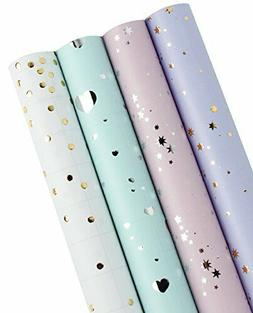 LaRibbons Gift Wrapping Paper Roll - Hearts/Polka Dots/Stars