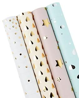 LaRibbons Gift Wrapping Paper Roll - Polka Dots/Stars/Hearts