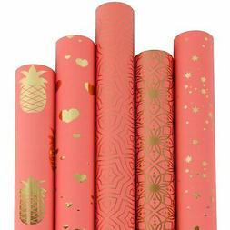 RUSPEPA Gift Wrapping Paper Roll-Watermelon And Gold Foil Pa