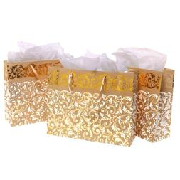 Gold Foil Party Gift Bags and Tissues - Floral Arabesque Des