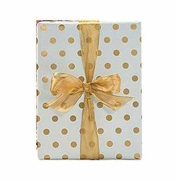 "Gold Foil Polka Dot Wrapping Paper - 30"" x 240"" Lg Roll - 50"