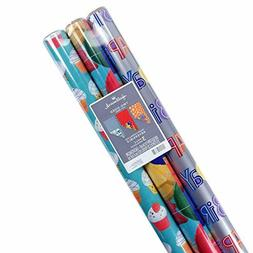 Hallmark Reversible Birthday Wrapping Paper, Celebrate (Pack