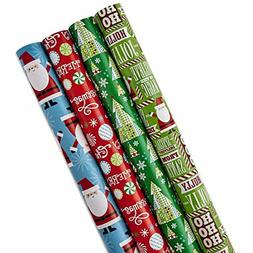 Hallmark Reversible Christmas Wrapping Paper Bundle, Santa a