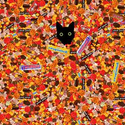 Halloween Black Cat Hiding in Candy  Premium Roll Gift Wrap
