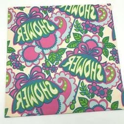 Hippie Shower Gift Wrap Wrapping Paper Baby Bridal Vtg 70s M