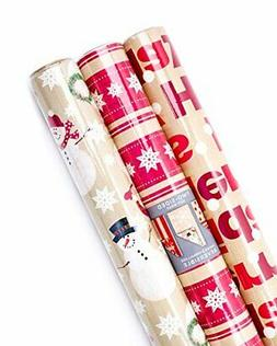 3 Pack Hallmark Holiday Christmas Reversible Gift Wrapping P