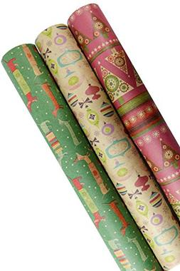 Holiday Retro Printed Kraft Wrapping Paper