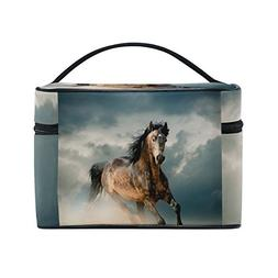 Horse Pattern Print Cosmetic Bags Travel Makeup Toiletry Org