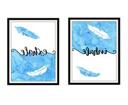 Inhale Exhale Print Pair of Prints Feather Art Wall Decor Ze