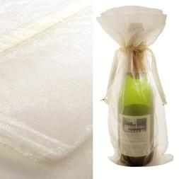 10x Ivory Bottle & Wine Organza Favor Gift Bags 6.5x15 inch