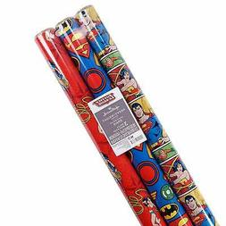 Hallmark Justice League Wrapping Paper with Cut Lines (Pack