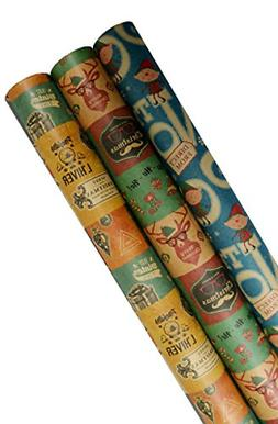 K-Kraft Vintage Prints CHRISTMAS KRAFT WRAPPING PAPER 30 inc
