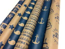 Kraft and Blue Wrapping Paper Set - 6 Rolls - 6 Birthday Pat