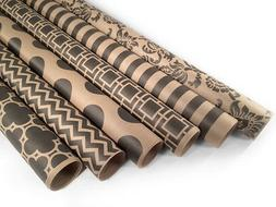 """Kraft and Black Wrapping Paper - 6 Rolls - 6 Patterns - 30"""""""