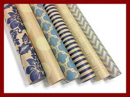 Kraft BLUE & Cream Wrapping Paper Set 6 Rolls Multiple Patte