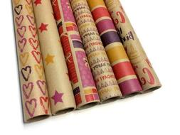 Kraft Multi Color Wrapping Paper Set - 6 Rolls - 6 Birthday