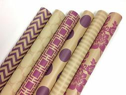 Kraft Pink and Cream Wrapping Paper - 6 Rolls - 6 Patterns -