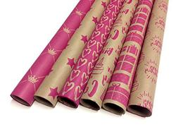 Kraft and Pink Wrapping Paper Set - 6 Rolls - 6 Birthday Pat