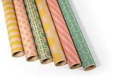Kraft Multi Color Printed Wrapping Paper Set - 6 Rolls - Mul