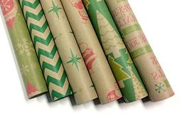 Kraft Retro Wrapping Paper Set - 6 Rolls - Multiple Patterns