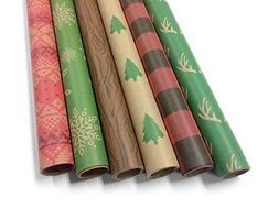 Kraft Rustic Wrapping Paper Set - 6 Rolls - Multiple Pattern