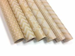 """Kraft and White Wrapping Paper - 6 Rolls - 6 Patterns - 30"""""""