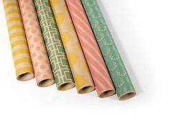 Kraft Multi Color Wrapping Paper - 6 Rolls - 6 Patterns - 30