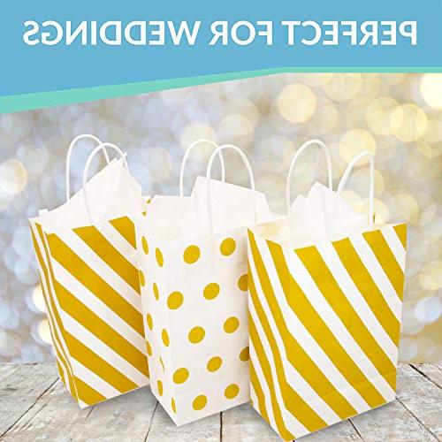 12 Gold Bags with Polka Gift with Tissue Weddings, Anniversaries,
