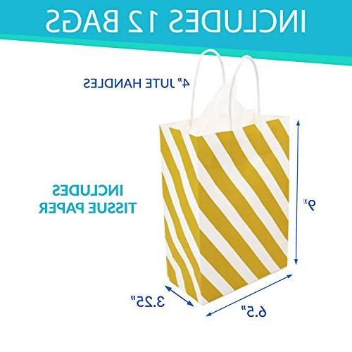 12 Bags with Tissue Paper, Dot, Striped, Chevron Metallic Gift with Tissue Wrapping Weddings, Engagements or Showers