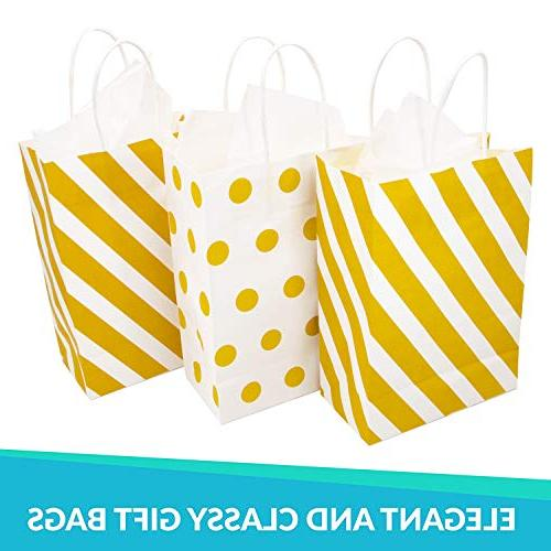 12 Gold Gift Bags with Tissue Paper, Dot, Metallic Gift Bags or Bridal Showers